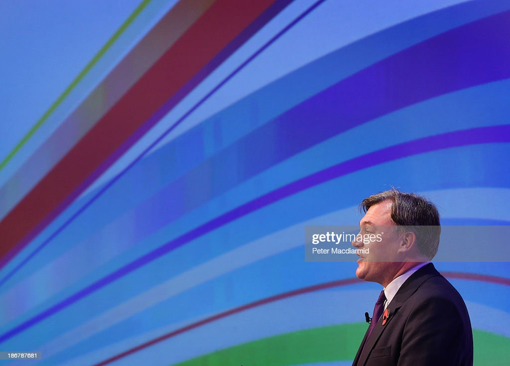 Shadow Chancellor <a gi-track='captionPersonalityLinkClicked' href=/galleries/search?phrase=Ed+Balls&family=editorial&specificpeople=3244683 ng-click='$event.stopPropagation()'>Ed Balls</a> speaks at The Confederation of British Industry (CBI) annual conference on November 4, 2013 in London, England. The CBI is the leading lobby group for businesses in the United Kingdom