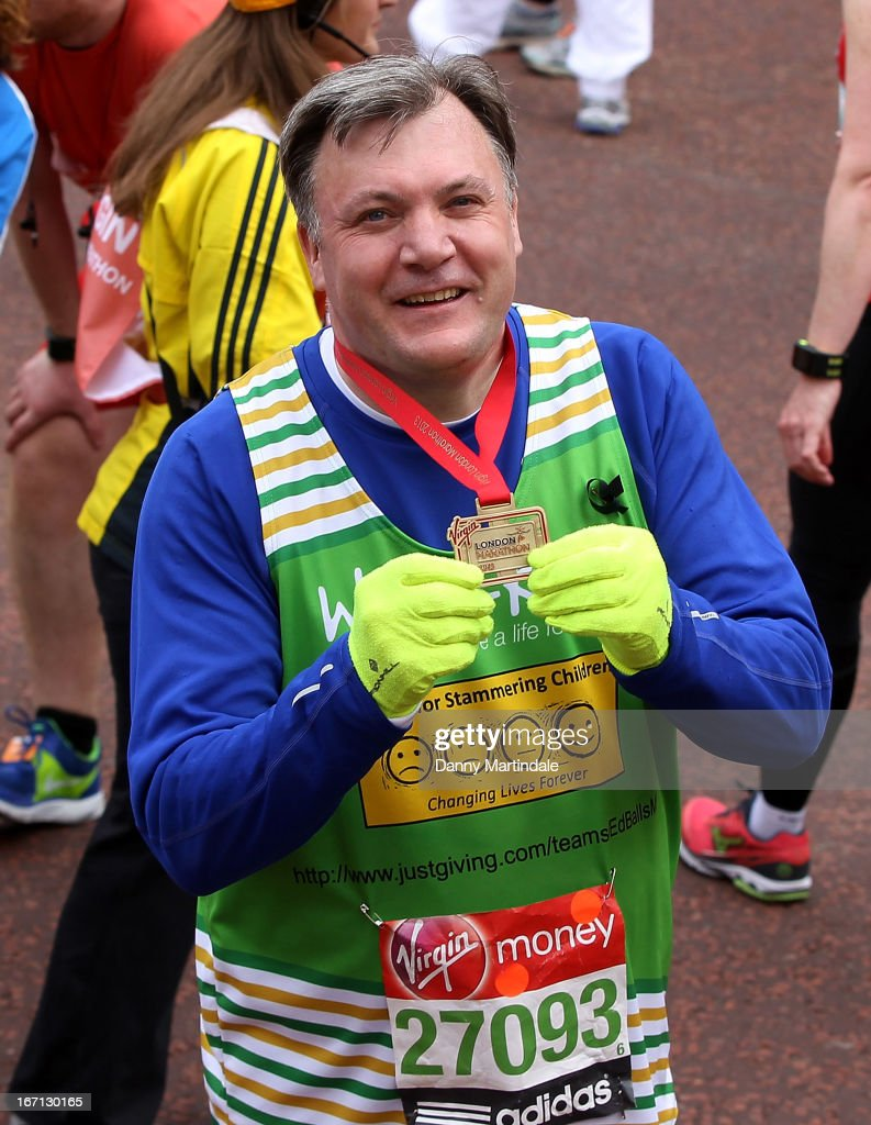 Shadow Chancellor <a gi-track='captionPersonalityLinkClicked' href=/galleries/search?phrase=Ed+Balls&family=editorial&specificpeople=3244683 ng-click='$event.stopPropagation()'>Ed Balls</a> takes part in the Virgin London Marathon on April 21, 2013 in London, England.