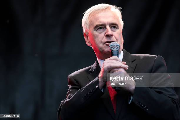 Shadow Chancellor John McDonnell addresses supporters during a Labour Party rally in Park Hill park on June 6 2017 in Croydon England Labour Leader...