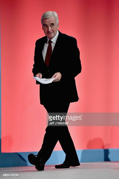 Shadow chancellor John McDonnell addresses the Labour Party autumn conference on September 28 2015 in BrightonEngland Mr McDonnell told activists in...