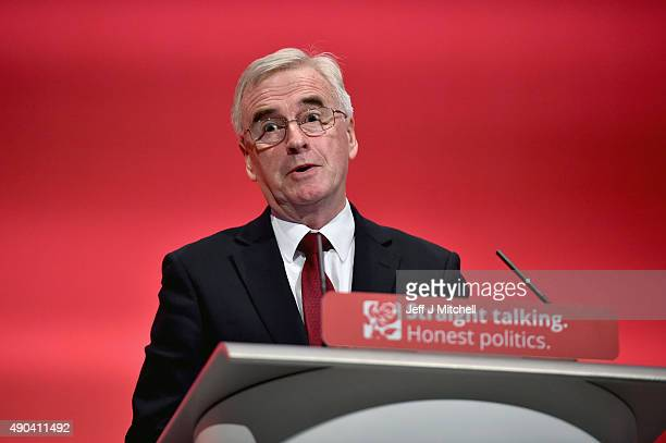 Shadow chancellor John McDonnell addresses the Labour Party autumn conference on September 28 2015 in Brighton England Mr McDonnell told activists in...