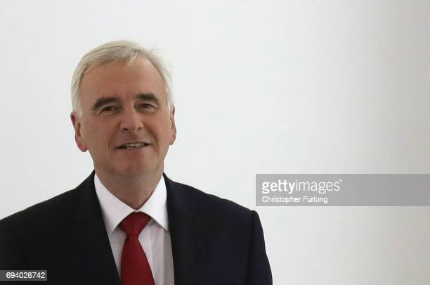 Shadow Chancellor John McDonnell arrives at Labour Headquarters on June 9 2017 in London England After a snap election was called by Prime Minister...