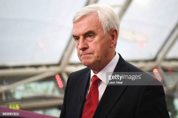 Shadow Chancellor John McDonnell conducts a TV interview prior to the launch of the Labour Party Election Manifesto at Bradford University on May 16...