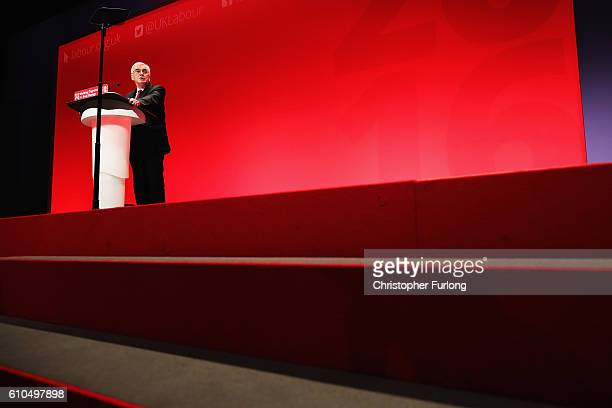 Shadow Chancellor John McDonnell delivers his keynote speech to the Labour Party Conference on September 26 2016 in Liverpool England During his...