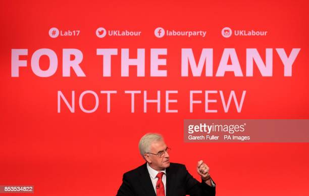 Shadow chancellor John McDonnell delivers his speech at the Labour Party conference at the Brighton Centre Brighton