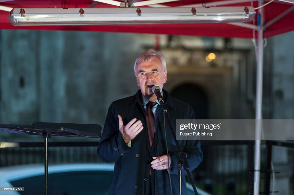 Shadow Chancellor John Mcdonnell speaks at the protest, on March 13, 2017 in London, England. Demonstration in support of guaranteeing the rights of EU citizens in the UK post-Brexit is held in Parliament Square while the MPs vote in the House of Commons on the Labour amendments to the Article 50 bill. The protesters demand the amendments are passed before Britain enters the negotiations on the terms of leaving the EU. Wiktor Szymanowicz / Barcroft Images hello@barcroftmedia.com - +1 212 796 2458 +91 11 4053 2429