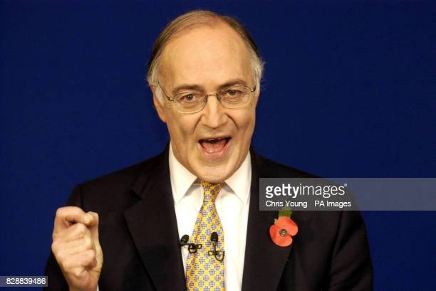 Shadow Chancellor Michael Howard announces that he will run for the leadership of the Conservative Party at the Saatchi Gallery at London's County...