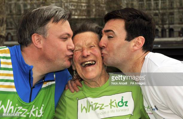 Shadow Chancellor of the Exchequer Ed Balls oldest female runner in this weekend's marathon Iva Barr and Shadow Secretary of State for Health Andy...
