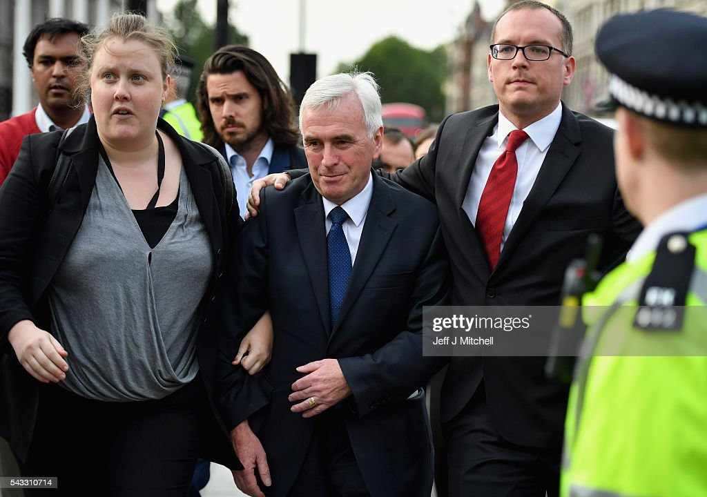 Shadow Chancellor of the Exchequer <a gi-track='captionPersonalityLinkClicked' href=/galleries/search?phrase=John+McDonnell+-+Politician&family=editorial&specificpeople=15046200 ng-click='$event.stopPropagation()'>John McDonnell</a> arrives to announce that Labour leader Jeremy Corbyn wil not resign during Momentum's 'Keep Corbyn' rally outside the Houses of Parliament on June 27, 2016 in London, England. The Labour Leader has seen mass resignations from the Shadow Cabinet in the wake of the UK Vote for Brexit. His support group, Momentum, have recorded more than 1000 new members in the same period.