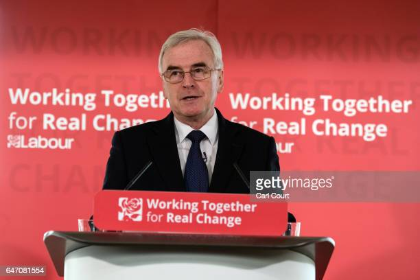 Shadow Chancellor of the Exchequer John McDonnell delivers a speech on the economy ahead of next week's budget on March 2 2017 in London England Mr...