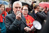 GBR: John McDonnell and McDonalds Workers Protest At Downing Street