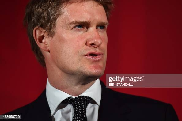 Shadow education secretary and Labour Party candidate for StokeonTrent Tristram Hunt speaks at the launch of the Labour Party Education Manifesto for...