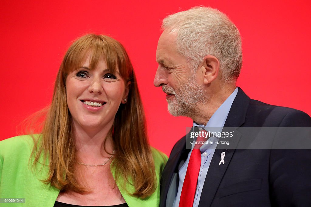 Shadow Education Secretary, Angela Rayner is congratulated by Labour Party leader Jeremy Corbyn after her keynote speech on September 27, 2016 in Liverpool, England. On day three of the annual conference Shadow Education Secretary Angela Rayner set out the party's policy on childcare while deputy leader Tom Watson delivered his keynote speech to delegates calling for unity within the party.