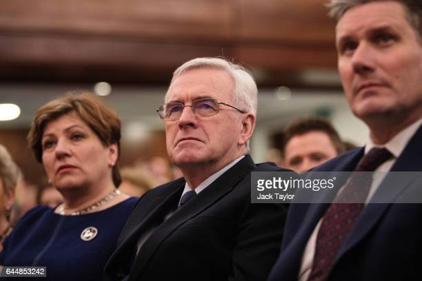 Shadow Foreign Secretary Emily Thornberry Shadow Chancellor John McDonnell and Shadow Secretary of State for Exiting the EU Keir Starmer attend a...