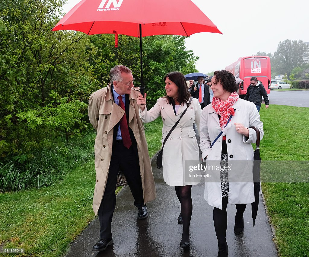Shadow Foreign Secretary <a gi-track='captionPersonalityLinkClicked' href=/galleries/search?phrase=Hilary+Benn&family=editorial&specificpeople=703088 ng-click='$event.stopPropagation()'>Hilary Benn</a> MP and Shadow Energy Secretary Lisa Nandy (C) visit the Angel of the North with the Labour In for Britain battle bus on May 26, 2016 in Gateshead, England. The 'Labour In' battle bus will make several trips to the north east region to encourage the British public to vote to remain in the EU in the June 23rd referendum.