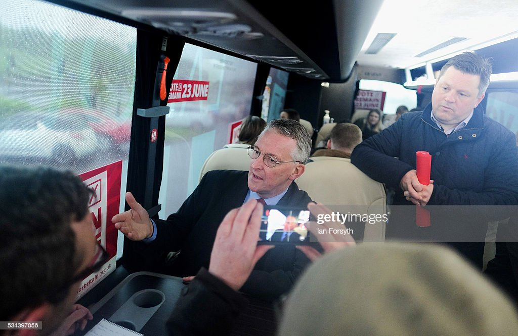 Shadow Foreign Secretary <a gi-track='captionPersonalityLinkClicked' href=/galleries/search?phrase=Hilary+Benn&family=editorial&specificpeople=703088 ng-click='$event.stopPropagation()'>Hilary Benn</a> MP speaks with the media during a visit to the Angel of the North with the Labour In for Britain battle bus on May 26, 2016 in Gateshead, England. The 'Labour In' battle bus will make several trips to the north east region to encourage the British public to vote to remain in the EU in the June 23rd referendum.