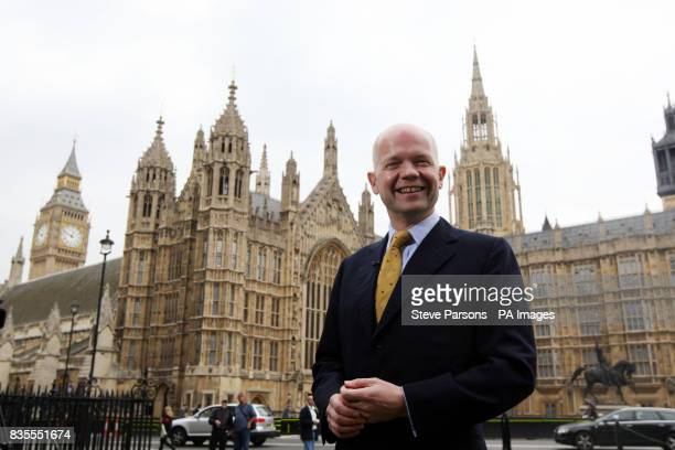 Shadow foreign secretary William Hague on Abingdon Green near the House of Commons in central London