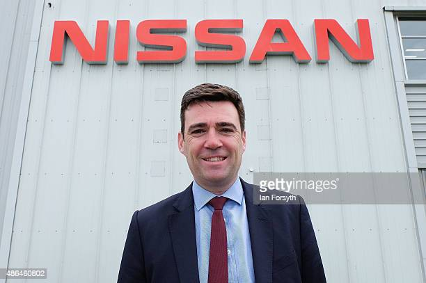 Shadow Health Secretary and Labour leadership hopeful Andy Burnham visits the Nissan car manufacturing plant on September 4 2015 in Sunderland...