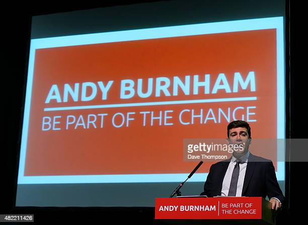 Shadow Health Secretary Andy Burnham delivers a State Of The Leadership Race speech at the Royal Armouries Museum on July 28 2015 in Leeds England...