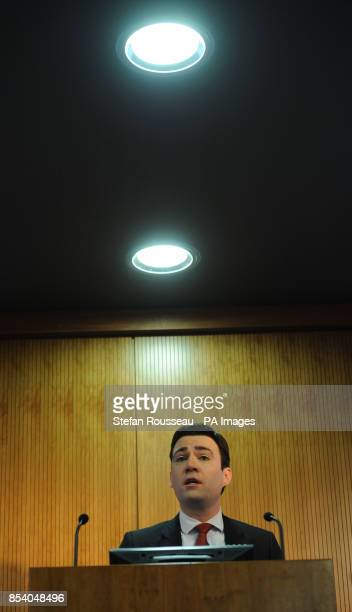 Shadow health secretary Andy Burnham delivers his speech on 'wholeperson care' to the King's Fund in London PRESS ASSOCIATION Photo Picture date...