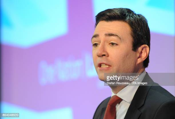 Shadow health secretary Andy Burnham delivers his speech on wholeperson care to the King's Fund in London