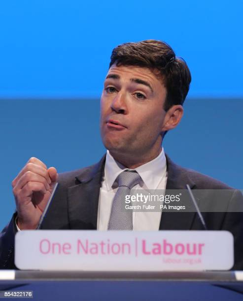 Shadow health secretary Andy Burnham delivers his speech to delegates at the annual Labour Party conference in Brighton East Sussex