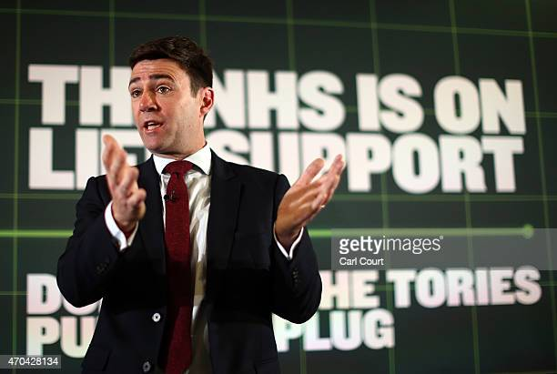 Shadow Health Secretary Andy Burnham speaks during a poster launch and Q and A with Shadow Minister for Care and Older People Liz Kendall and Shadow...
