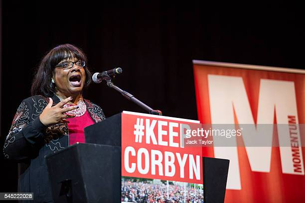 Shadow Health Secretary Diane Abbott speaks at a rally in support of Labour Leader Jeremy Corbyn by the grassroots group Momentum at The Troxy on...