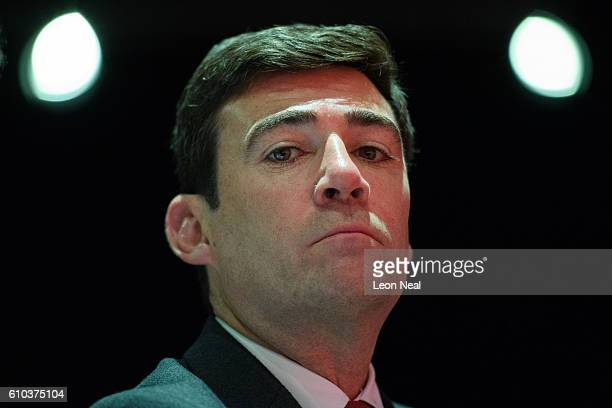 Shadow Home Secretary Andy Burnham listens to speakers in the main hall on the first day of the Labour Party Conference in the Exhibition Centre...