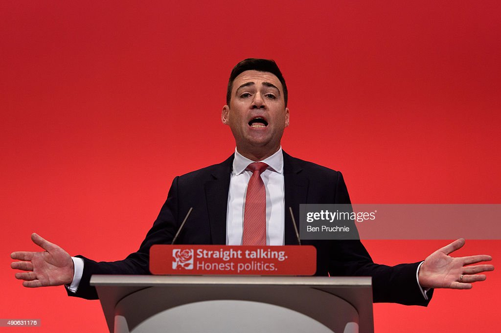 Shadow Home Secretary <a gi-track='captionPersonalityLinkClicked' href=/galleries/search?phrase=Andy+Burnham&family=editorial&specificpeople=469823 ng-click='$event.stopPropagation()'>Andy Burnham</a> speaks to delegates during a session titled 'Stronger, Safer Communities' during the final day of the Labour Party Autumn Conference on September 30, 2015 in Brighton, England. On the final day of the four day annual Labour Party Conference delegates will debate an emergency motion on Syria and discuss matters relating to healthcare and education.