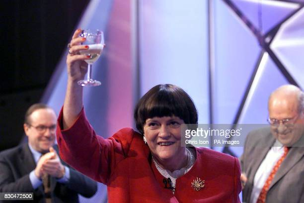 Shadow Home Secretary Ann Widdecombe celebrates her birthday after her speech on the stage at the Conservative Party Conference in Bournemouth She...