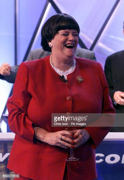 Shadow Home Secretary Ann Widdecombe celebrates her birthday on the stage on the third day of the Conservative Party Conference in Bournemouth She...