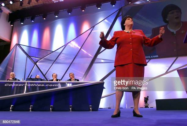 Shadow Home Secretary Ann Widdecombe speaks on the stage on the third day of the Conservative Party Conference in Bournemouth She declared war on...