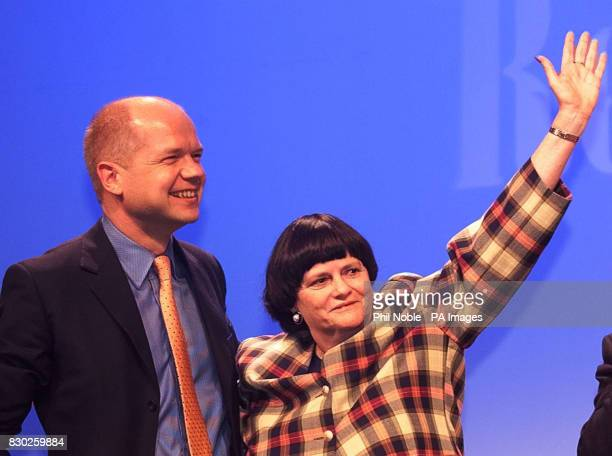 Shadow home secretary Ann Widdecombe with Conservative leader William Hague after making an impassioned key note speach to delegates at their party...