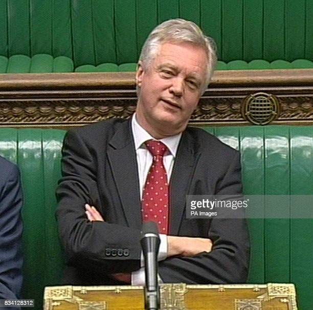 Shadow Home Secretary David Davis reacts as Home Secretary Jacqui Smith announces to the Commons lengthy forms for police to record stop and account...