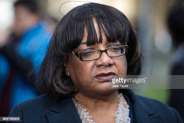 Shadow Home Secretary Diane Abbott speaks to assembled media on College Green outside the Houses of Parliament on April 18 2017 in London England...