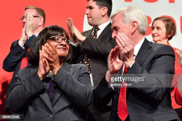 Shadow Home Secretary Dianne Abbott and Shadow Chancellor John McDonnell applaud as Labour party leader Jeremy Corbyn launches the party's general...