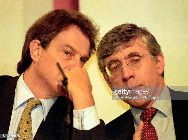 Shadow Home Secretary Jack Straw who made his law and order speech talks to Tony Blair at the Labour Party Conference today