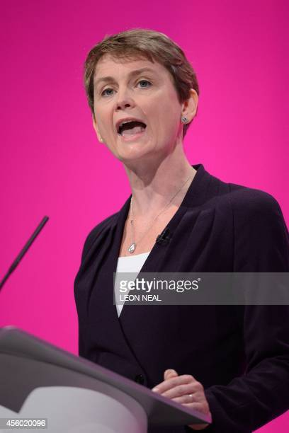 Shadow Home Secretary Yvette Cooper addresses delegates in the main hall at Manchester Central in Manchester on September 24 2014 on the fourth day...