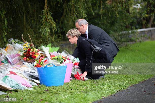 Shadow Home Secretary Yvette Cooper and Shadow Policing Minister David Hanson lay flowers at the scene of the shooting of WPCs Nicola Hughes and...