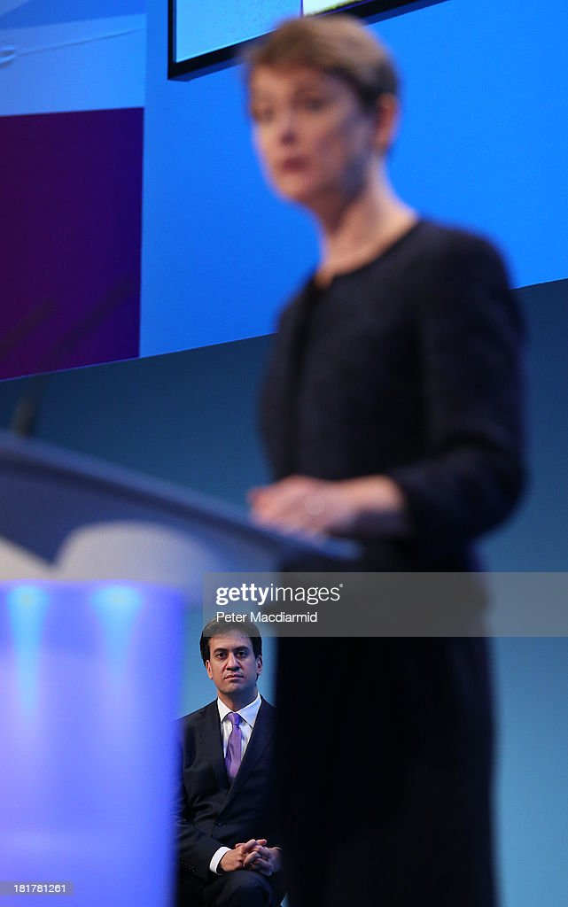 Shadow home secretary <a gi-track='captionPersonalityLinkClicked' href=/galleries/search?phrase=Yvette+Cooper&family=editorial&specificpeople=2486558 ng-click='$event.stopPropagation()'>Yvette Cooper</a> is watched by party leader <a gi-track='captionPersonalityLinkClicked' href=/galleries/search?phrase=Ed+Miliband&family=editorial&specificpeople=4376337 ng-click='$event.stopPropagation()'>Ed Miliband</a> as she speaks at the Labour Party conference on September 25, 2013 in Brighton, England. Party leader <a gi-track='captionPersonalityLinkClicked' href=/galleries/search?phrase=Ed+Miliband&family=editorial&specificpeople=4376337 ng-click='$event.stopPropagation()'>Ed Miliband</a> will take part in a question and answer session later on the last day of conference.