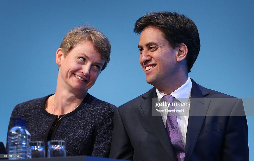 Shadow home secretary <a gi-track='captionPersonalityLinkClicked' href=/galleries/search?phrase=Yvette+Cooper&family=editorial&specificpeople=2486558 ng-click='$event.stopPropagation()'>Yvette Cooper</a> looks at party leader <a gi-track='captionPersonalityLinkClicked' href=/galleries/search?phrase=Ed+Miliband&family=editorial&specificpeople=4376337 ng-click='$event.stopPropagation()'>Ed Miliband</a> at the Labour Party conference on September 25, 2013 in Brighton, England. Party leader <a gi-track='captionPersonalityLinkClicked' href=/galleries/search?phrase=Ed+Miliband&family=editorial&specificpeople=4376337 ng-click='$event.stopPropagation()'>Ed Miliband</a> will take part in a question and answer session later on the last day of conference.