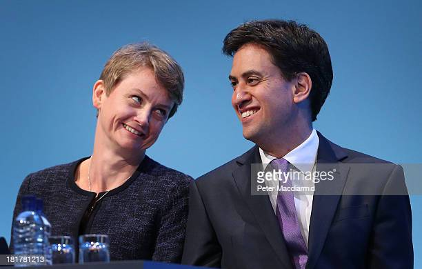 Shadow home secretary Yvette Cooper looks at party leader Ed Miliband at the Labour Party conference on September 25 2013 in Brighton England Party...