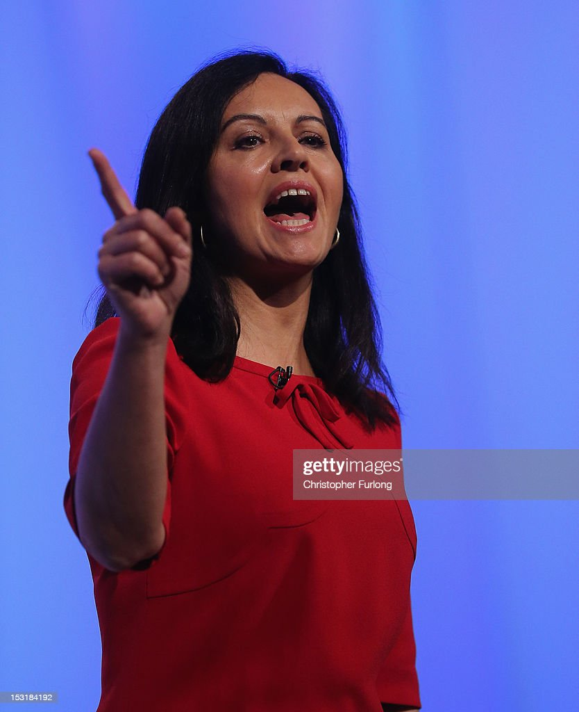 Shadow housing minister Caroline Flint addresses delegates the Labour Party Conference at Manchester Central on October 1, 2012 in Manchester, England. Labour shadow chancellor Ed Balls unveiled his plans to stimulate the economy, using a GBP 3bn windfall from the sale of 4G mobile phone frequencies to build 100,000 affordable homes and give stamp duty breaks to first time buyers.