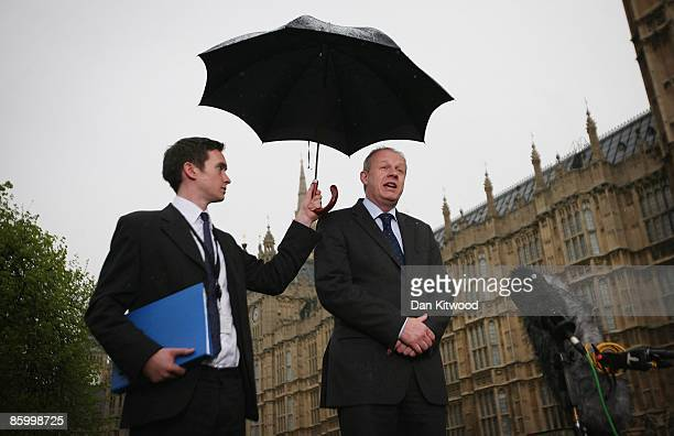 Shadow Immigration Minister Damian Green arrives at College Green to give a statement to the press after been cleared over office leaks on April 16...