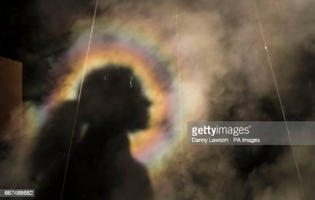 A shadow is pictured with the Brocken Spectre a naturally occurring phenomenon where people appear to see a halo effect around the head of their...