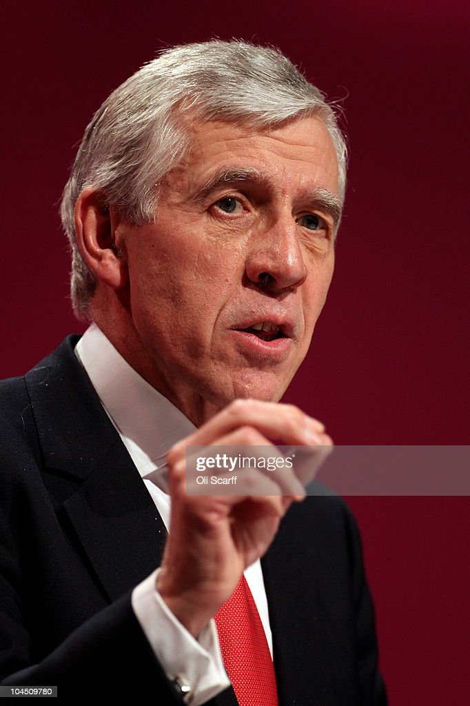 Shadow Justice Secretary <a gi-track='captionPersonalityLinkClicked' href=/galleries/search?phrase=Jack+Straw&family=editorial&specificpeople=118608 ng-click='$event.stopPropagation()'>Jack Straw</a> addresses delegates on the third day of the Labour party conference at Manchester Central on September 28, 2010 in Manchester, England. On the fourth day of his leadership Ed Miliband called on members to move forward into a new era and that he is part of a new generation and is set to move away from Brown and Blair era.