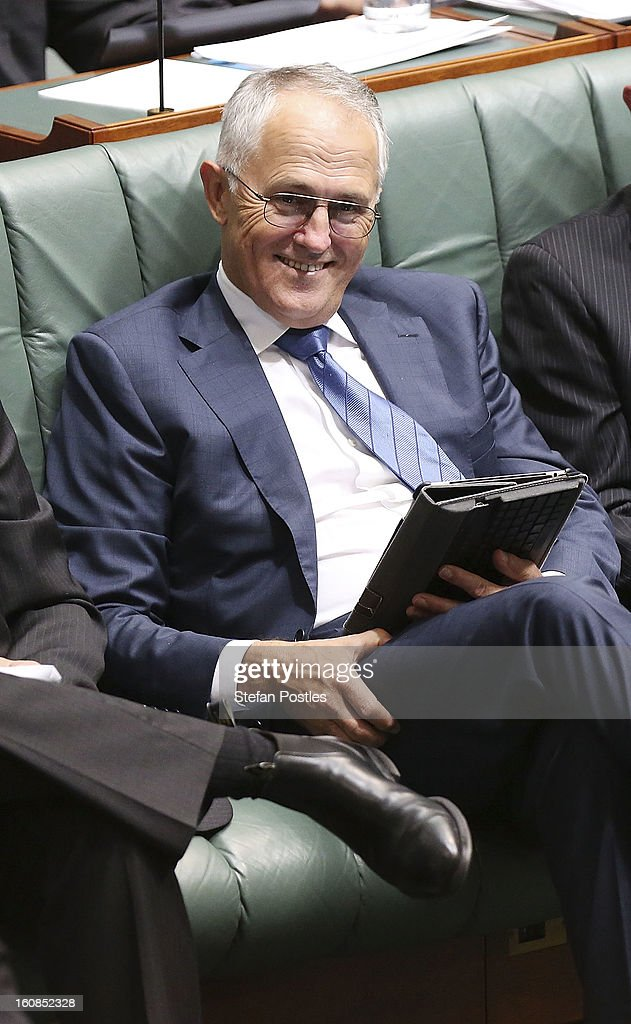 Shadow Minister for Communications and Broadband <a gi-track='captionPersonalityLinkClicked' href=/galleries/search?phrase=Malcolm+Turnbull&family=editorial&specificpeople=2125595 ng-click='$event.stopPropagation()'>Malcolm Turnbull</a> during House of Representatives question time at Parliament House on February 7, 2013 in Canberra, Australia. Parliament resumes for the first sitting of 2013 this week, just days after Prime Minister Gillard, announced a federal election date of September 14, 2013.
