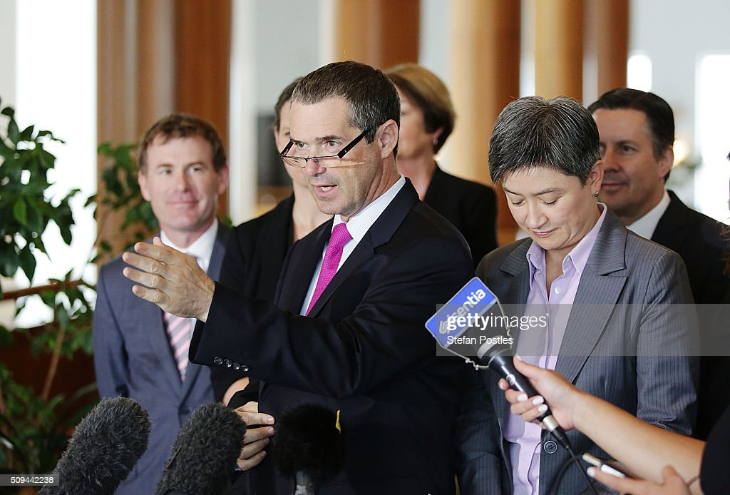 Shadow Minister for Defence Senator Stephen Conroy speaks to the media regarding the build of Australia's Offshore Patrol Vessels in South Australia on February 11, 2016 in Canberra, Australia. Nationals Leader and Deputy Prime Minister Warren Truss and Trade Minister Andrew Robb will retire at the next election.