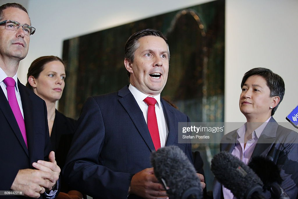 Shadow Minister for Environment, Climate Change and Water Mark Butler speaks to the media regarding the build of Australia's Offshore Patrol Vessels in South Australia on February 11, 2016 in Canberra, Australia. Nationals Leader and Deputy Prime Minister Warren Truss and Trade Minister Andrew Robb will retire at the next election.